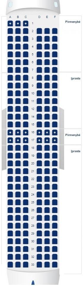 Ryanair lektuvo vietos